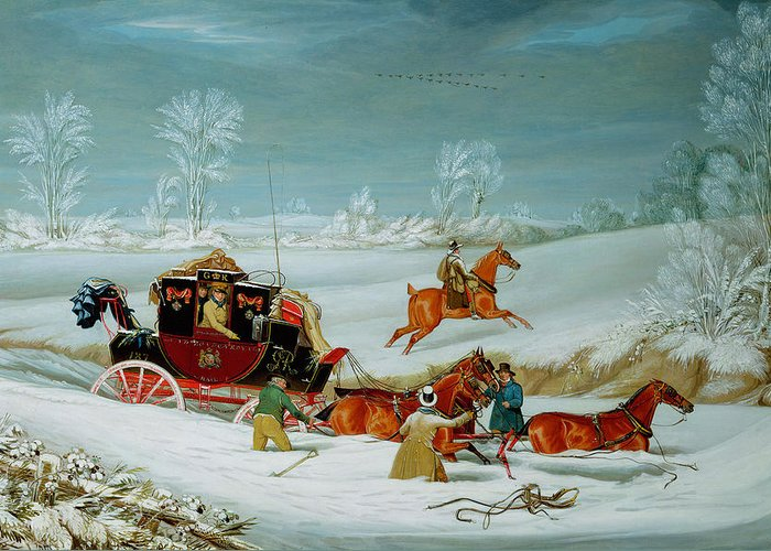 Mail Greeting Card featuring the painting Mail Coach In The Snow by John Pollard