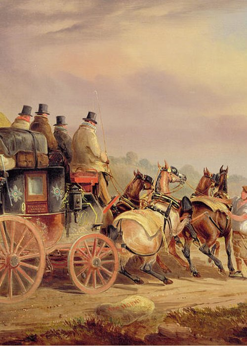 Mail Greeting Card featuring the painting Mail Coaches On The Road - The 'quicksilver' by Charles Cooper Henderson