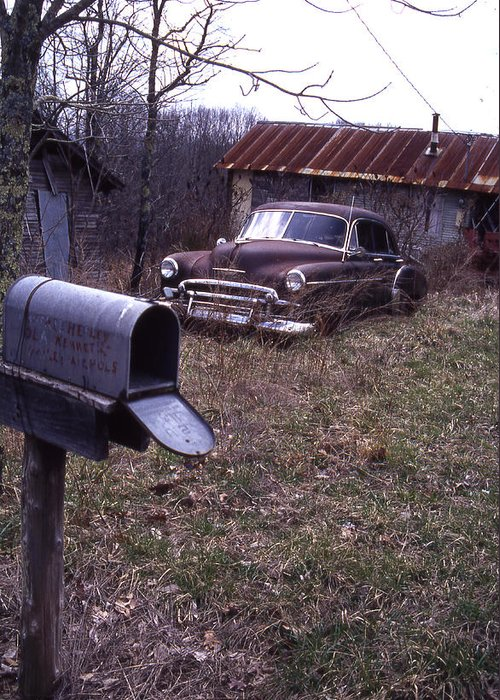 Greeting Card featuring the photograph Mailbox Car by Curtis J Neeley Jr