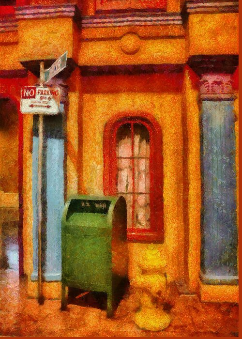 Savad Greeting Card featuring the photograph Mailman - No Parking by Mike Savad