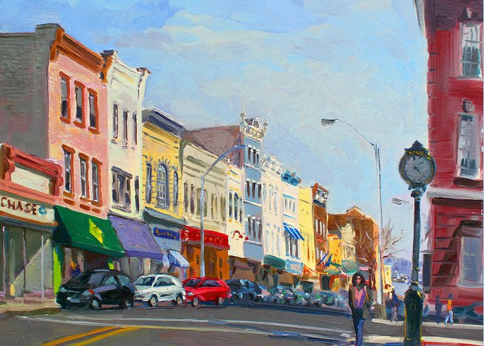 Main Street Greeting Card featuring the painting Main Street Nayck Ny by Ylli Haruni