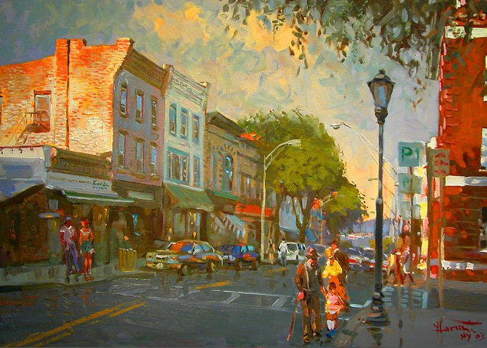 Main Street Greeting Card featuring the painting Main Street Nyack Ny by Ylli Haruni