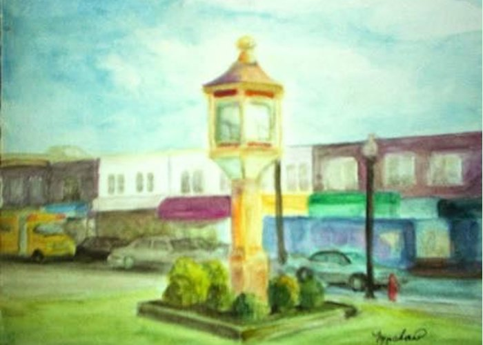 Clock Greeting Card featuring the painting Main Street by Sheila Mashaw