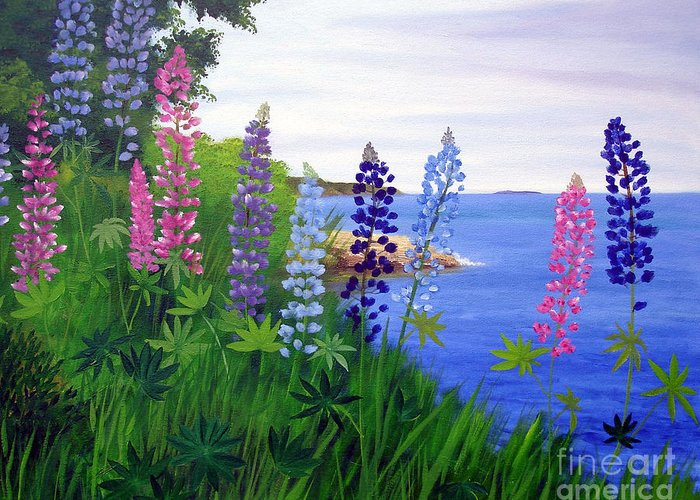 Wildflowers Greeting Card featuring the painting Maine Bay Lupine Flowers by Laura Tasheiko