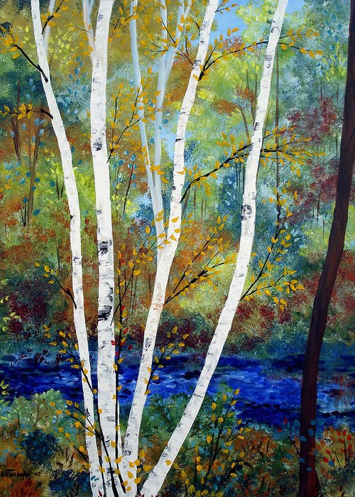 Landscape Greeting Card featuring the painting Maine Birch Stream by Laura Tasheiko