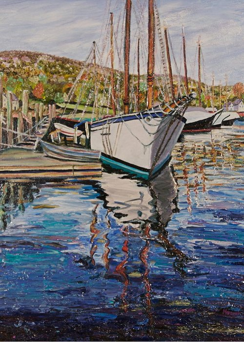 Maine Greeting Card featuring the painting Maine Coast Boat Reflections by Richard Nowak
