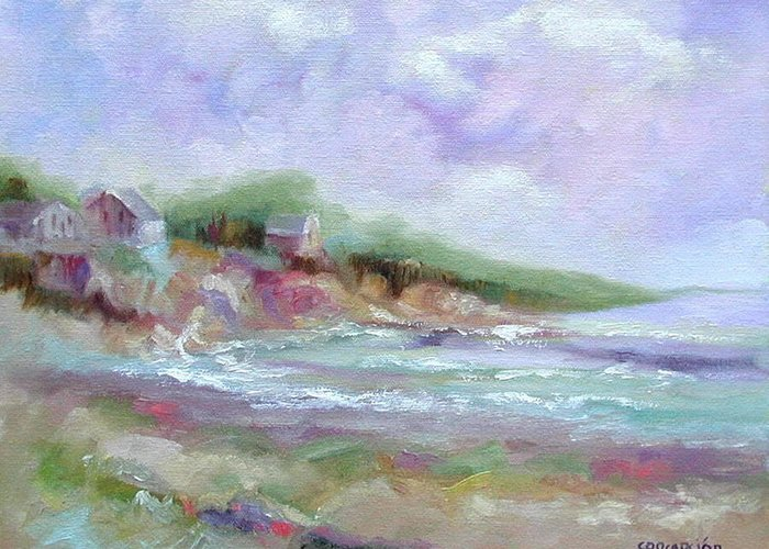 Maine Coastline Greeting Card featuring the painting Maine Coastline by Ginger Concepcion