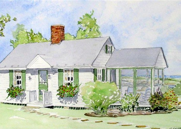 Cottage Greeting Card featuring the painting Maine Cottage by Debbie Peate