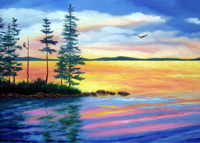 Maine Greeting Card featuring the painting Maine Evening Song by Laura Tasheiko