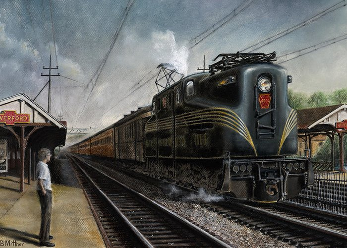 Trains Greeting Card featuring the painting Mainline Memories by David Mittner
