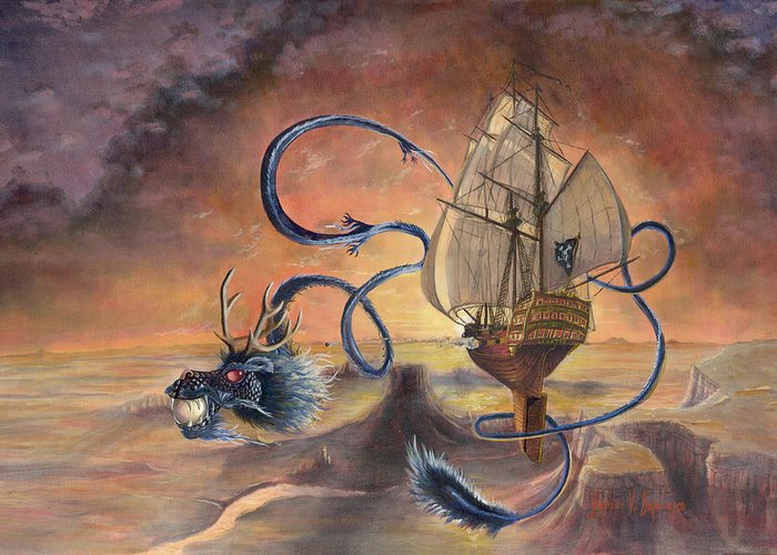Fantasy Greeting Card featuring the painting Majestic Accord by Jeff Brimley
