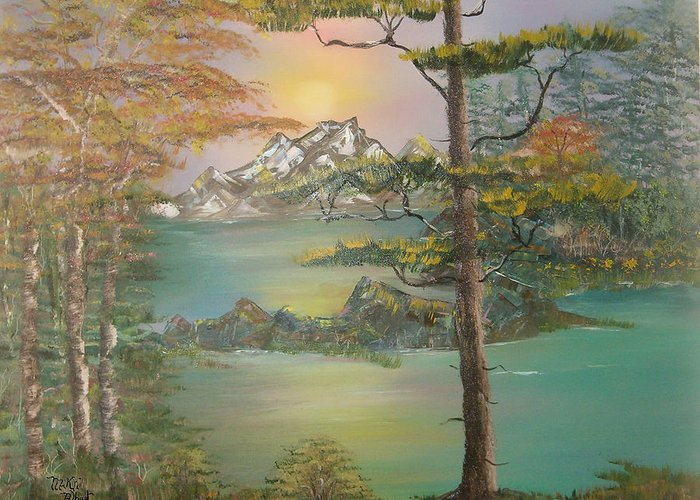 Landscape Greeting Card featuring the painting Majestic Cove by Mikki Alhart