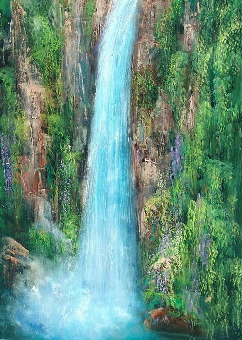 Waterfalls Greeting Card featuring the painting Majestic Falls by Sally Seago