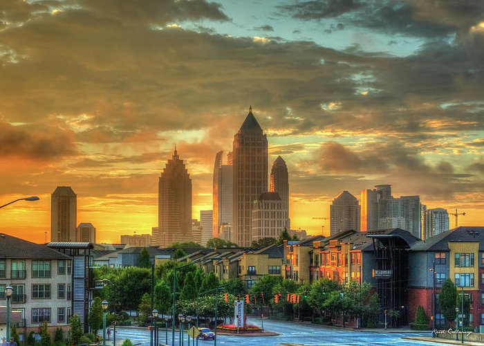Reid Callaway Midtown Atlanta Greeting Card featuring the photograph Majestic Gold Midtown Atlantic-station Atlanta Sunrise Art by Reid Callaway