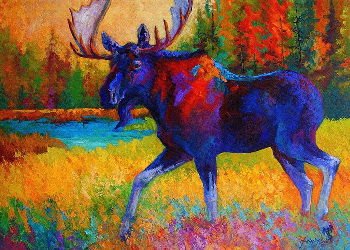 Moose Greeting Card featuring the painting Majestic Monarch - Moose by Marion Rose
