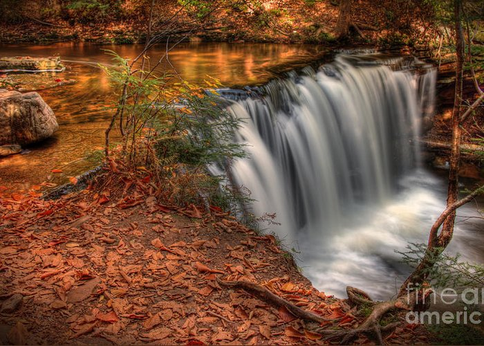 Vignette Greeting Card featuring the photograph Majestic Oneida Falls by Aaron Campbell