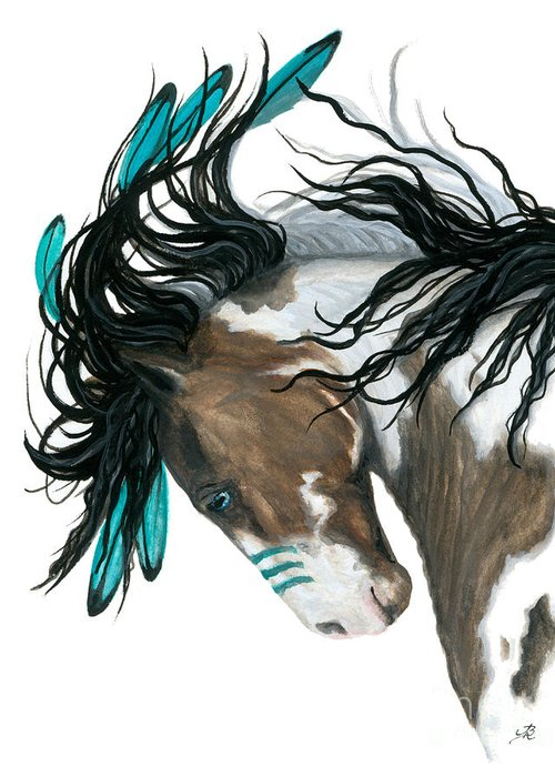Turquoise Greeting Card featuring the painting Majestic Turquoise Horse by AmyLyn Bihrle