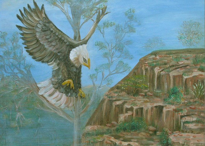 Eagle Greeting Card featuring the painting Majestic Warrior by Mikki Alhart