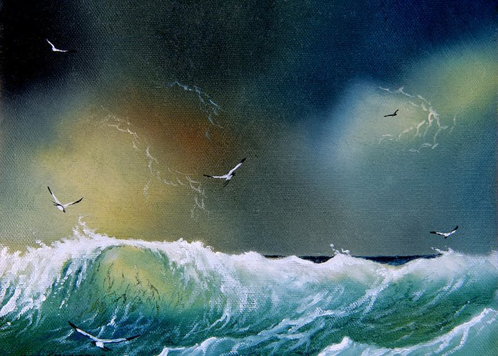 Water Greeting Card featuring the painting Majestic Wave by Don Griffiths