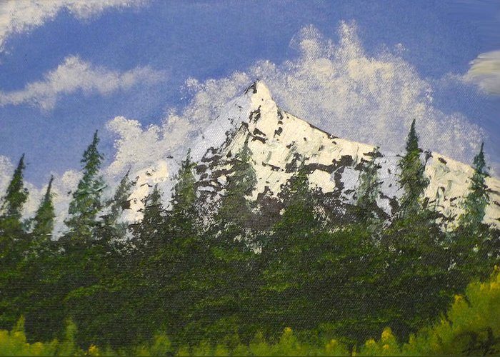 Mountains Greeting Card featuring the painting Majestic White by Christian Hidalgo