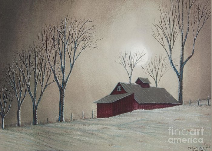 Winter Scene Paintings Greeting Card featuring the painting Majestic Winter Night by Charlotte Blanchard