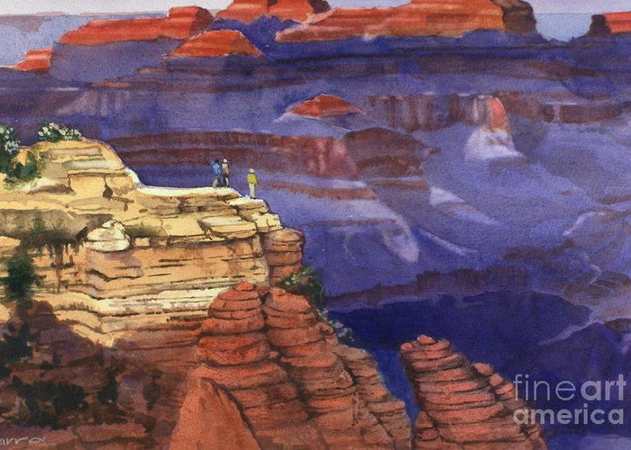 Grand Canyon Greeting Card featuring the painting Majesty by Elizabeth Carr