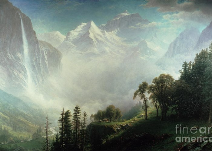 Majesty Greeting Card featuring the painting Majesty Of The Mountains by Albert Bierstadt