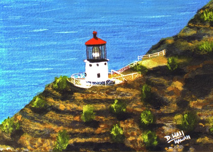 Hawaii Makapuu Lighthouse Painting Art Prints For Sale Hawaii Artist Donald K. Hall Hawaiian Art Paintings Greeting Card featuring the painting Makapuu Lighthouse #78, by Donald k Hall