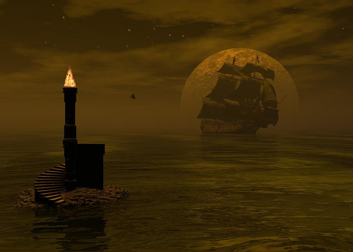 Windjammer Greeting Card featuring the digital art Make For The Light by Claude McCoy
