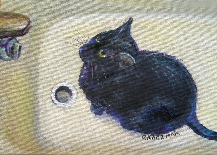 Black Cat Greeting Card featuring the painting Make It Drip Please by Olga Kaczmar