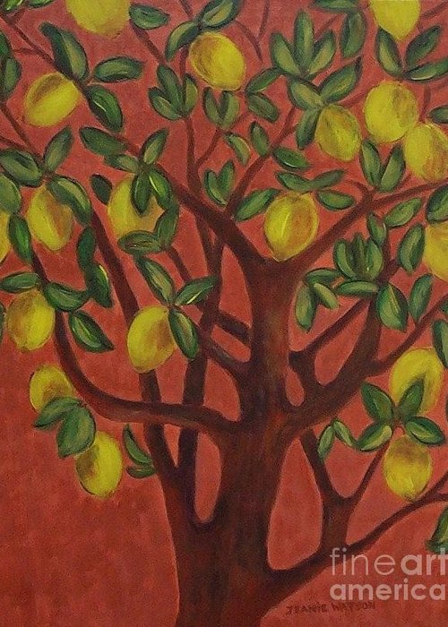 Lemon Greeting Card featuring the painting Make Lemon Aid by Jeanie Watson