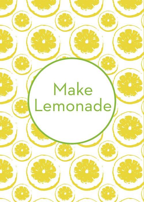 Lemons Greeting Card featuring the mixed media Make Lemonade 3- Art By Linda Woods by Linda Woods