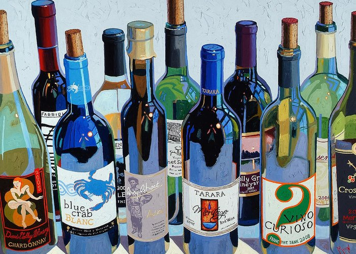 Wine Oil Greeting Cards