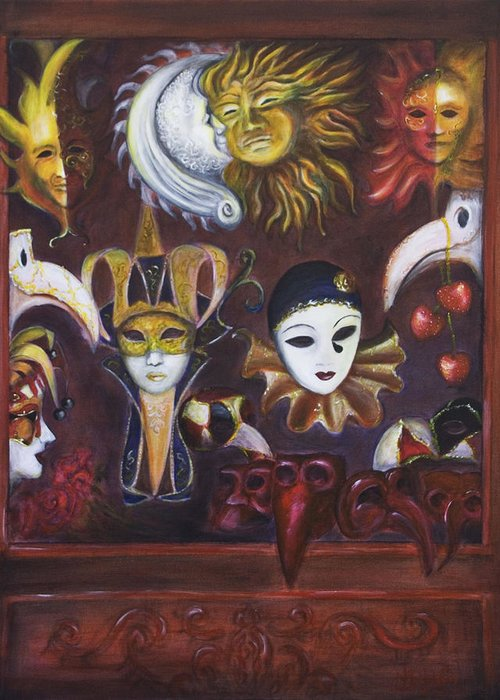 Masks Greeting Card featuring the painting Making Faces II by Nik Helbig