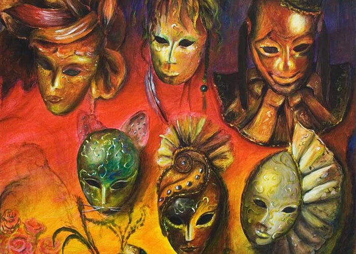 Masks Greeting Card featuring the painting Making Faces IIi by Nik Helbig