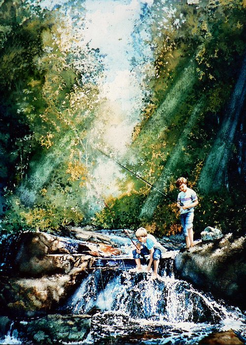 Boys Fishing Creek Print Greeting Card featuring the painting Making Memories by Hanne Lore Koehler