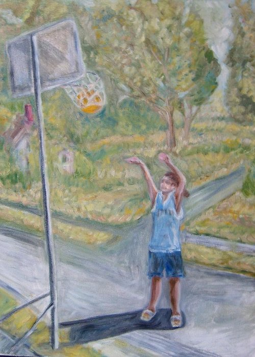 Basketball Landscape Portrait  Greeting Card featuring the painting Making The Point by Joseph Sandora Jr