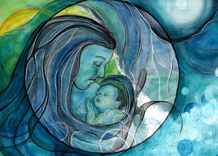 Mom Greeting Card featuring the painting Makuahine by Kimberly Kirk