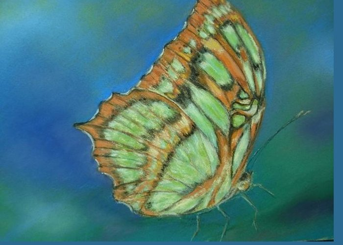 Butterfly Greeting Card featuring the painting Malachite by Ceci Watson