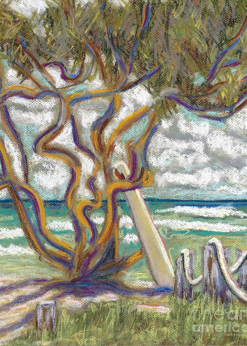 Art Greeting Card featuring the painting Malaekahana Tree by Patti Bruce - Printscapes