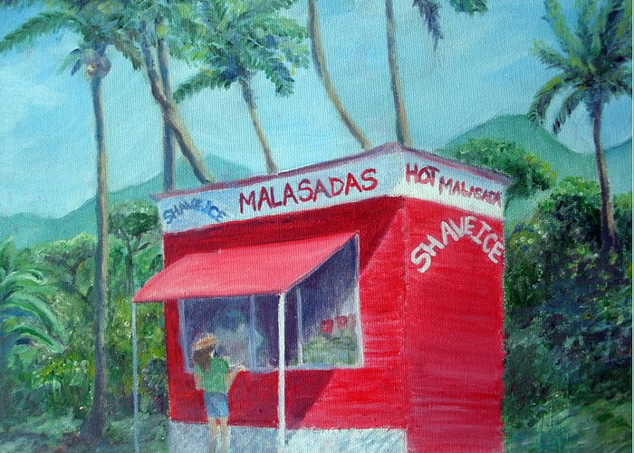 Malasada Stand Greeting Card featuring the painting Malasada Stand by Mike Segura