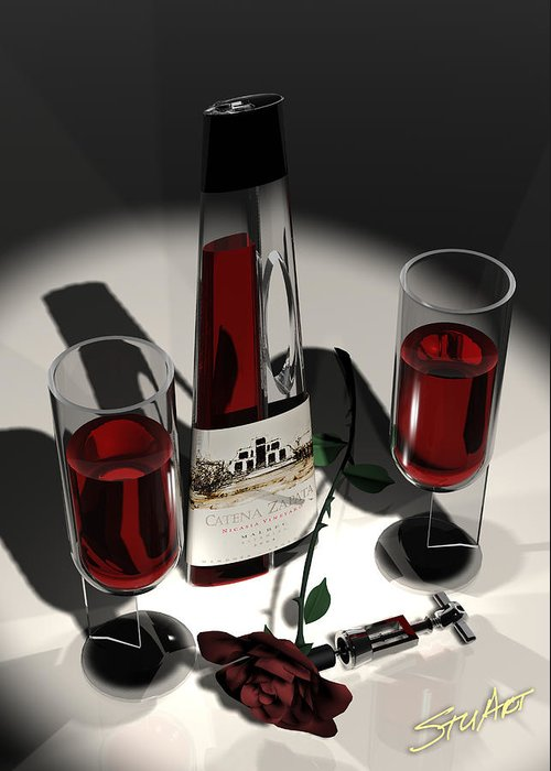 Wine Greeting Card featuring the digital art Malbec Wine - Romance Expectations by Stuart Stone