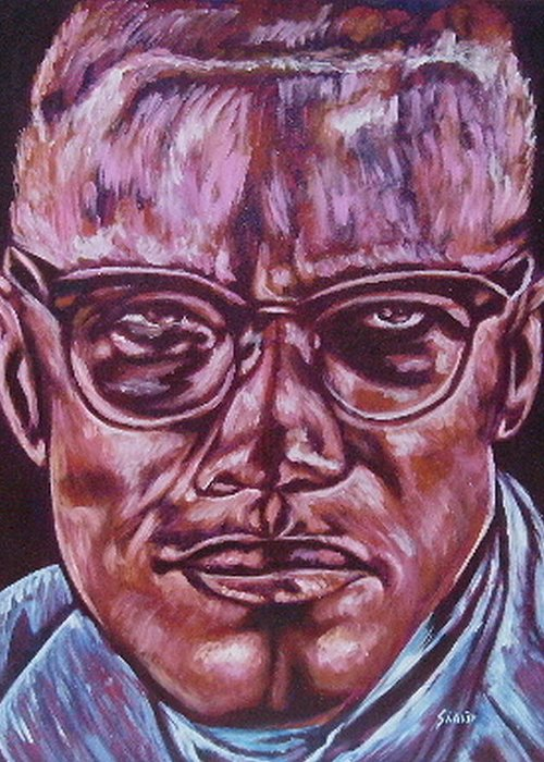 African Americam Greeting Card featuring the painting Malcolm by Shahid Muqaddim