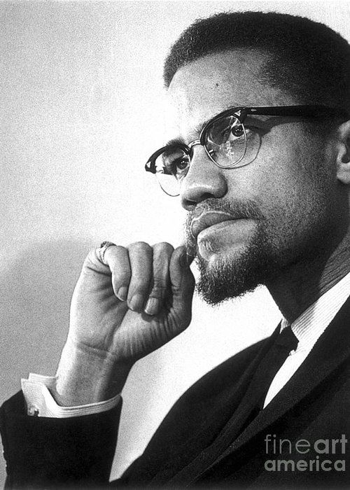 20th Century Greeting Card featuring the photograph Malcolm X (1925-1965) by Granger