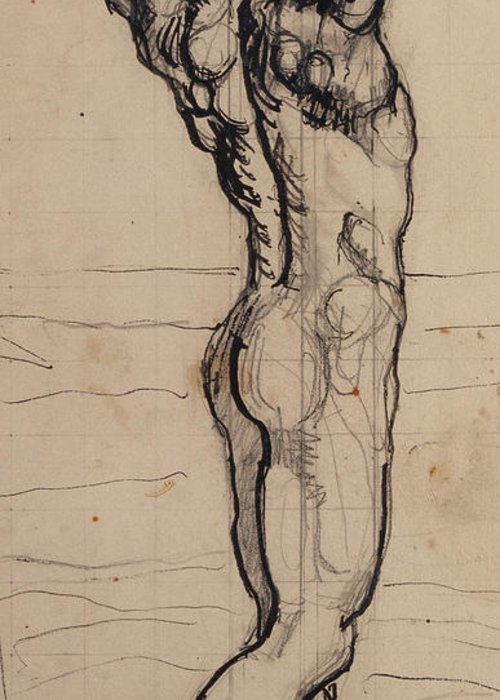 Drawing; Nude; Back View; Stretching; Standing; Full Length; Symbolist; Pen Greeting Card featuring the drawing Male Act  Study For The Truth by Ferdninand Hodler
