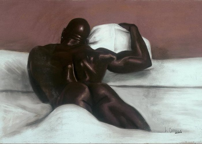 L Cooper Greeting Card featuring the pastel Male Nude by L Cooper
