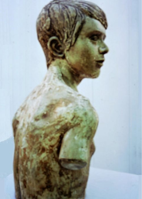Firgutive Sculpture Sculptures Greeting Card featuring the sculpture Male Youth by Sarah Biondo