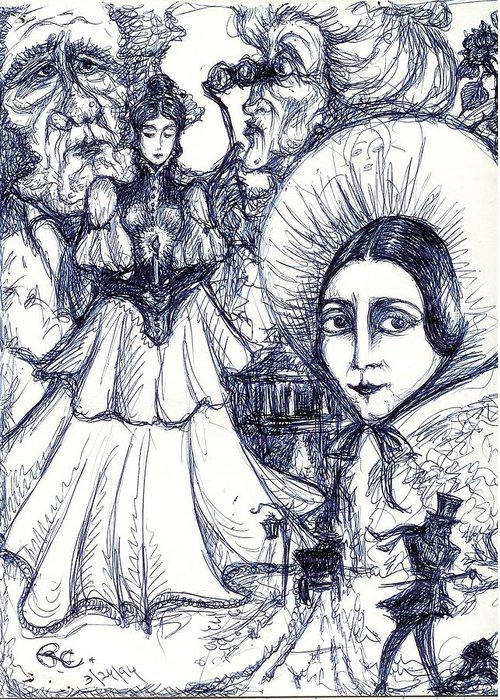 Original Art Greeting Card featuring the drawing Malice by Rae Chichilnitsky