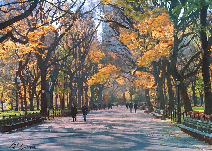 Mall Central Park Greeting Card featuring the painting Mall Central Park New York City by George Zucconi