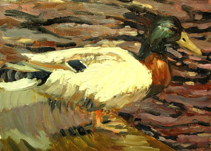 Duck Paintings Greeting Card featuring the painting Mallard by Brian Simons